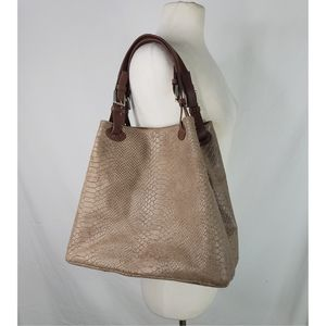 Borse In Pelle Genuine Leather Taupe Snake Purse